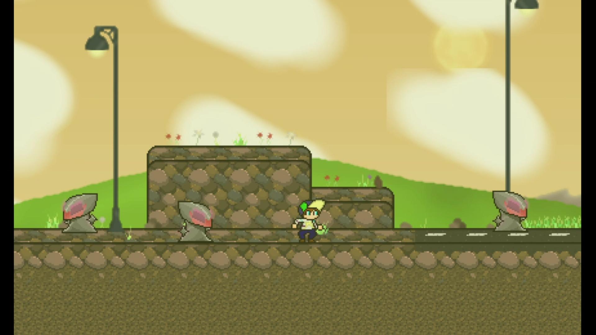 Screenshot of platforming level Bliss.